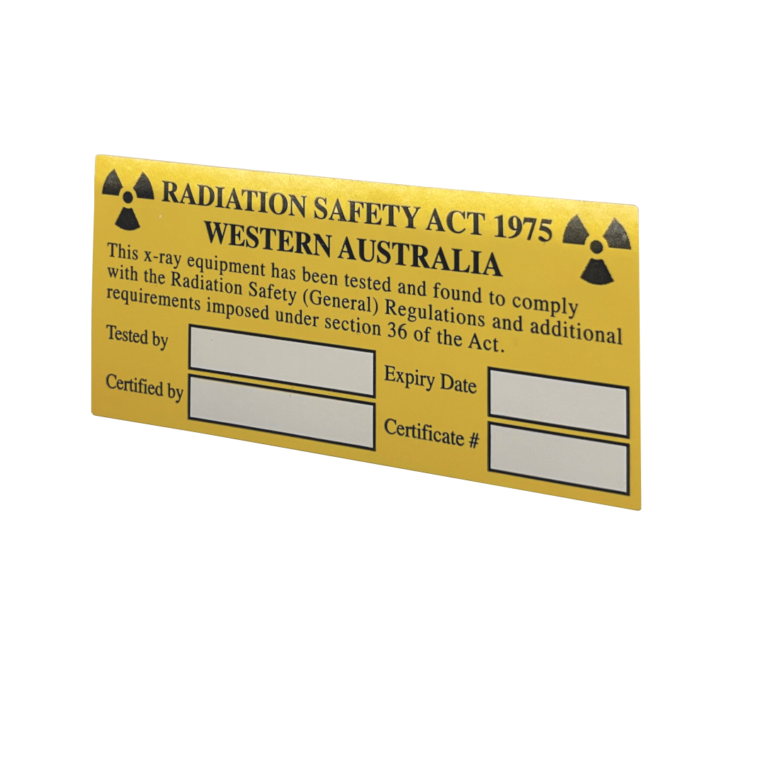 Label of compliance radiation safety act 1975 western australia